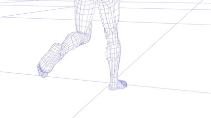 One wireman legs running rotating camera, loopable