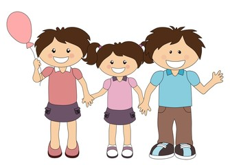 Illustration of cartoon happy family isolated on white