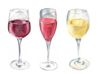 Watercolour wine set on white background