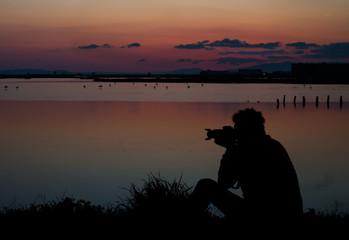 Gün Batımında fotoğrafçı