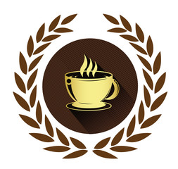Golden coffee cup icon with long shadow effect