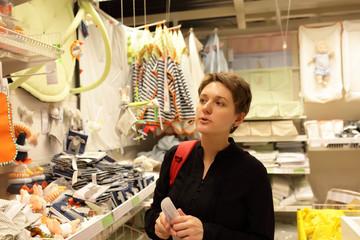 Woman at baby store