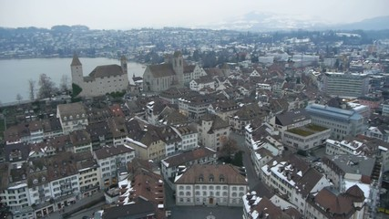 Aerial view of Swiss city Lucerne on a cold winter day.