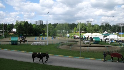 MOSCOW - JUN 9: (Timelapse View) Jockeys train horses on international competitions on show jumping CSIЗ Vivat Russia on Bitsevsky horse-racing complex, on Jun 9, 2012 in Moscow, Russia