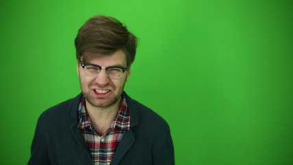Manifestation rage of man. Chroma key