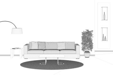 Raumplanung mit Sofa im Wohnzimmer