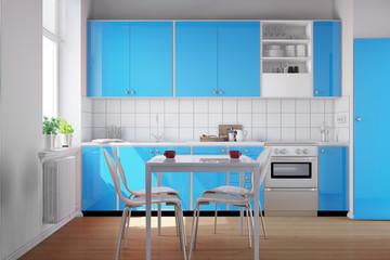 Hellblaue Küchenzeile in sauberer Küche