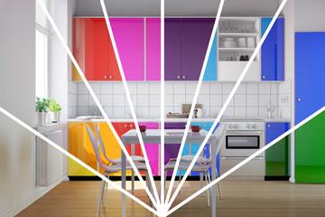 Küche mit Küchenzeile als Regenbogen