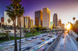 Los Angeles downtown skyline sunset buildings highway - 80216620