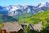 Panorama of Telluride Mountains and houses in Colorado, US
