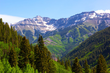 Panorama of the mountains surrounding Telluride in Colorado, US