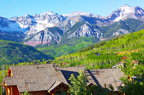 Panorama of Telluride Mountains and houses in Colorado, US © avmedved