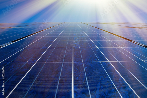 Solar panels and sunrays - 80216674