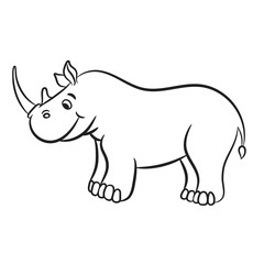 Outlined rhino vector illustration. Isolated on white.