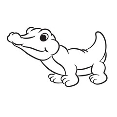 Outlined crocodile vector illustration. Isolated on white.