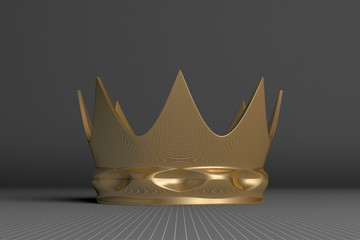 Golden crown on gray