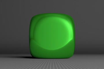 Green rounded cube