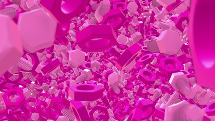 Abstract plastic bolts and nuts in pink