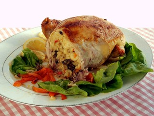 roasted and filled chicken for dinner
