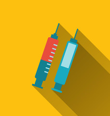 Modern flat icons of syringes with long shadows