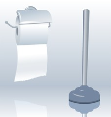Illustration of toilet roll with realistic shadow