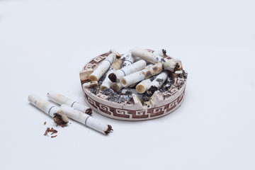 Many cigarettes in an ashtray