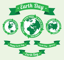 Earth day badge and retro style banner