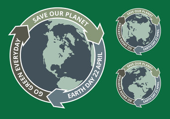 Earth day grunge badge
