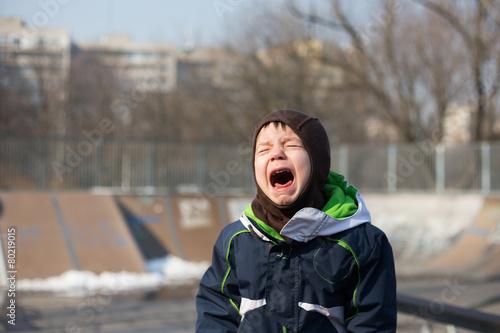 kid crying very loud in a temper tantrum - 80219015