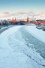 Moscow Kremlin and Moscow river in winter