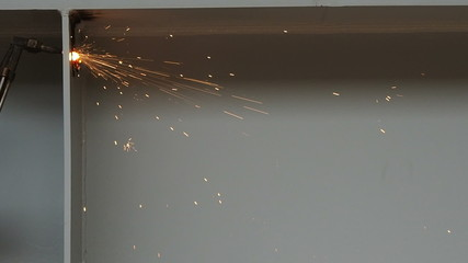 worker cutting steel by using metal torch, 60 fps.