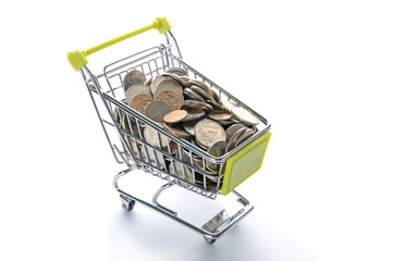 Grocery cart full of Russian coins..
