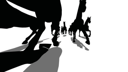 Many silhouette horses running front view, loopable