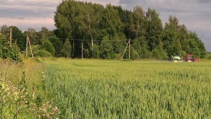 Farm tractor spray agriculture wheat field. Seasonal rural works
