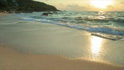 sea surf on sunrise