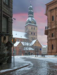 Dome cathedral church in old Riga by winter, Latvia