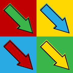 Pop art arrow symbol icons.