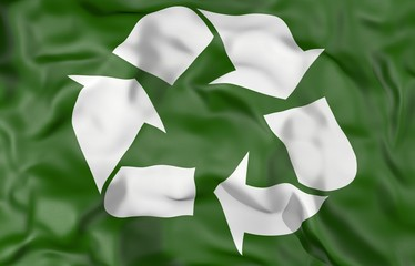 Recycle symbol corrugated flag 3d illustration