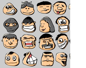 Vector set of colored smile emotions.