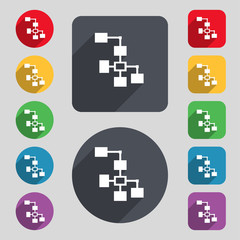 Local Network icon sign. A set of 12 colored button