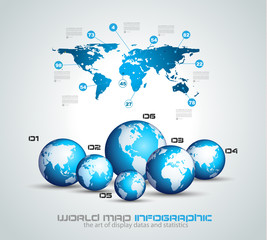 Infographic teamwork and brainstorming with World Map