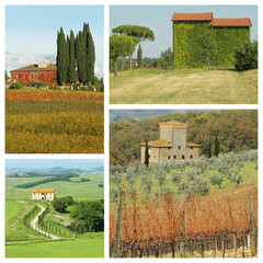 living in beautiful tuscan countryside - group of images