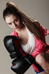 Seductive woman training. Boxing.