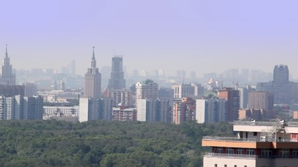 panorama of cityscape of Moscow with high apartment buildings