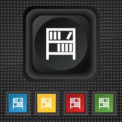 Bookshelf icon sign. symbol Squared colourful butt