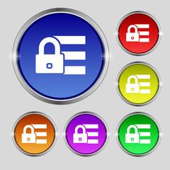 Lock, login icon sign. Round symbol on bright colo