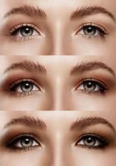 closeup woman eyes, showing step by step eye makeup process
