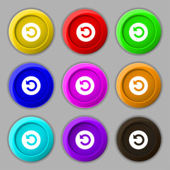 icon sign. symbol on nine round colourful buttons. V