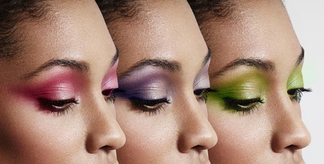 three women's profile with a different eyeshadows