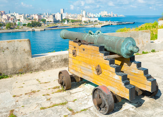 Old colonial spanish cannon aiming at the city of Havana